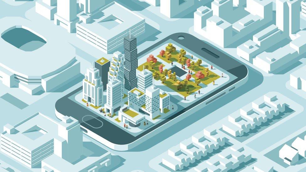Planificación de una ciudad con espacio verde.