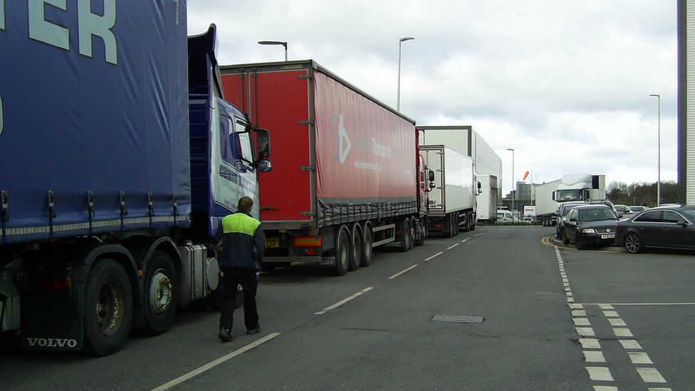 Lorries queuing at DHL Rugby depot