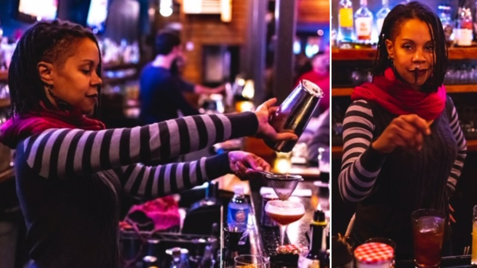 Valerie Graham is photographed working behind a bar making cocktails