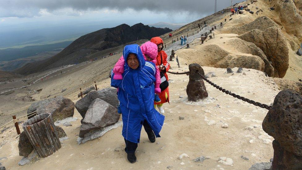 Turistas en el monte Paektu.