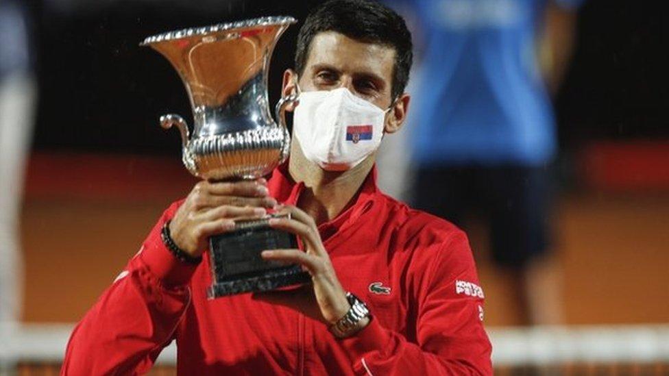Novak Djokovic with his trophy