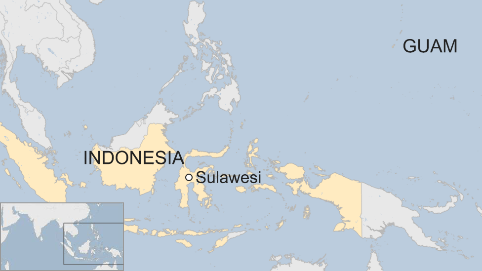 Map of Sulawesi and Guam