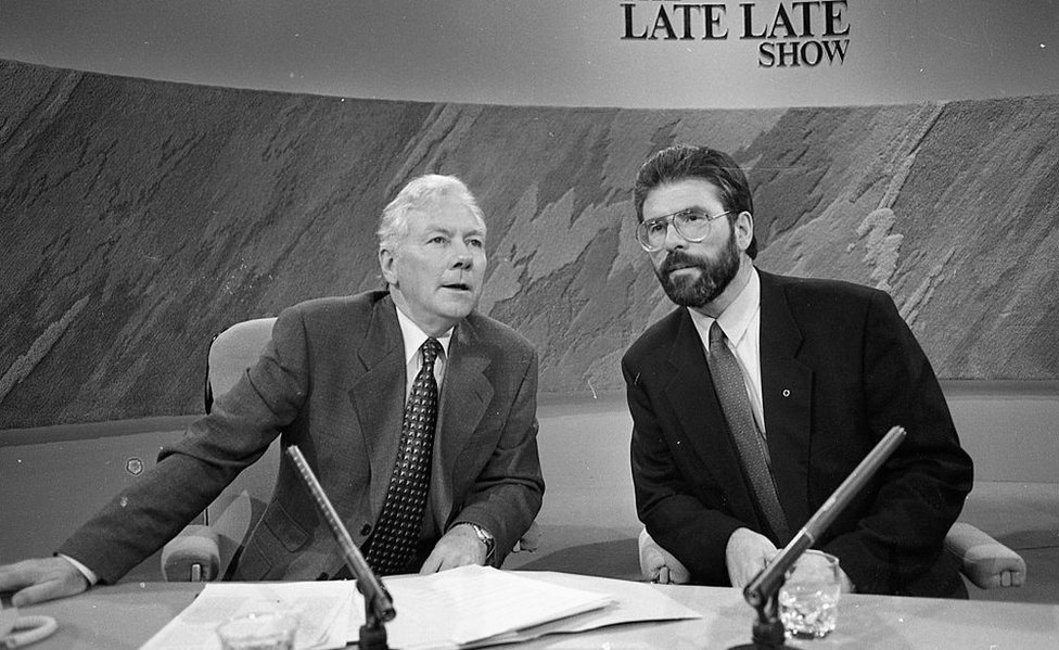 Gay Byrne and Gerry Adams in the Late Late Show studio in 1994
