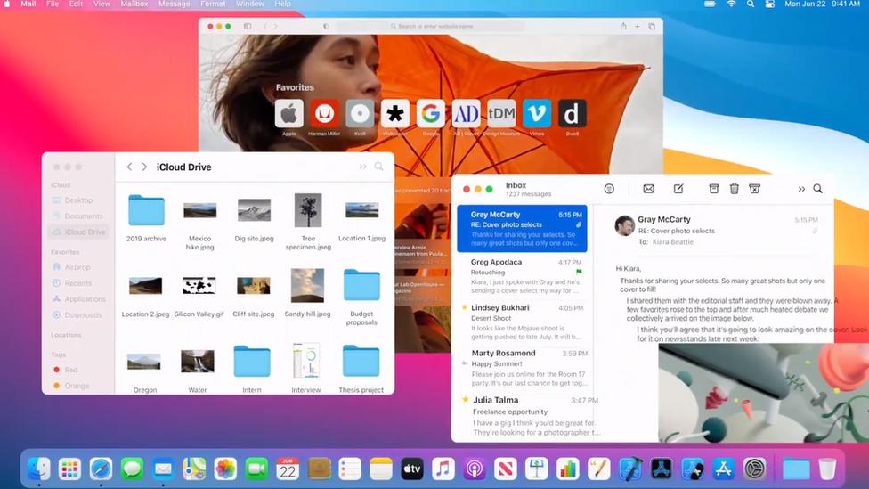 """La nueva versión del MacOS, """"Big Sur"""", cuenta con ajustes de diseño."""