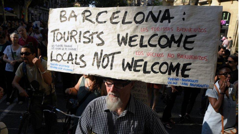 Protesta contra el turismo en Barcelona.