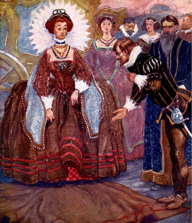 Ilustración del acto de galantería de Walter Raleigh