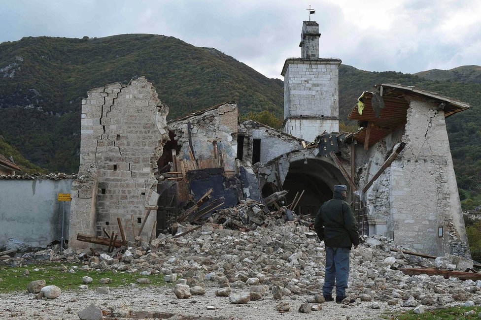 Collapsed church in Campi di Norcia, central Italy