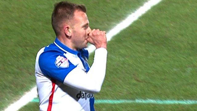 Blackburn's Jordan Rhodes celebrates his winning goal