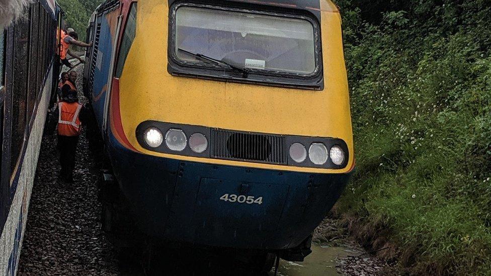 England flooding: Flood passengers stranded on rescue train