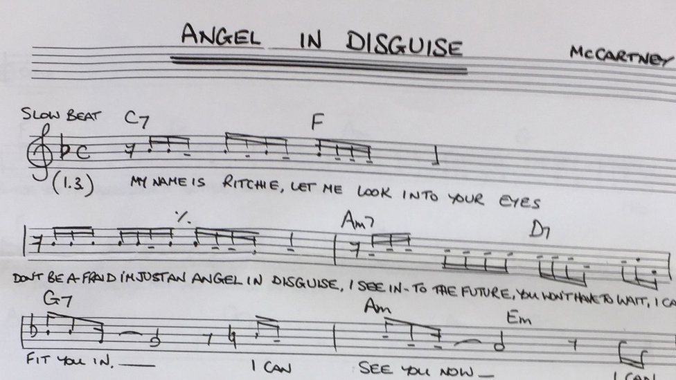 Lyrics sheet for Angel in Disguise