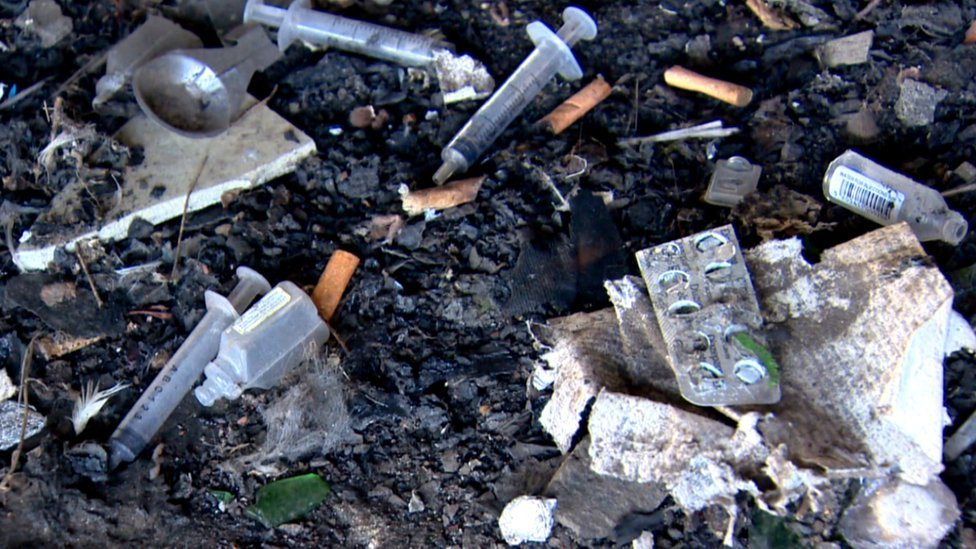 Discarded drug injecting equipment