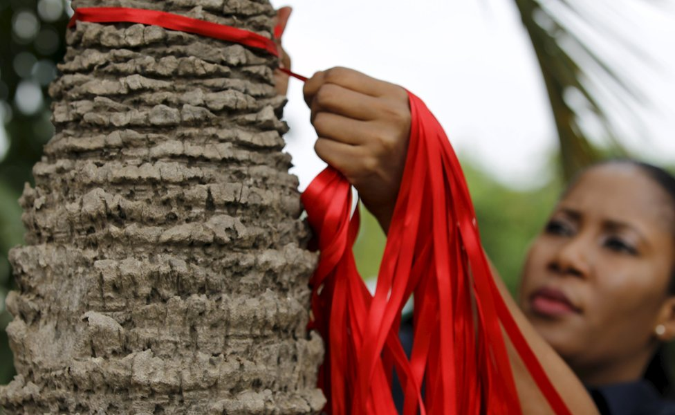 Red ribbons are tied around a tree trunk on the eve of the second anniversary of the abduction of the Chibok school girls in Abuja, Nigeria April 13, 2016