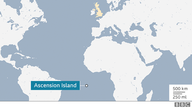 Map showing Ascension Island