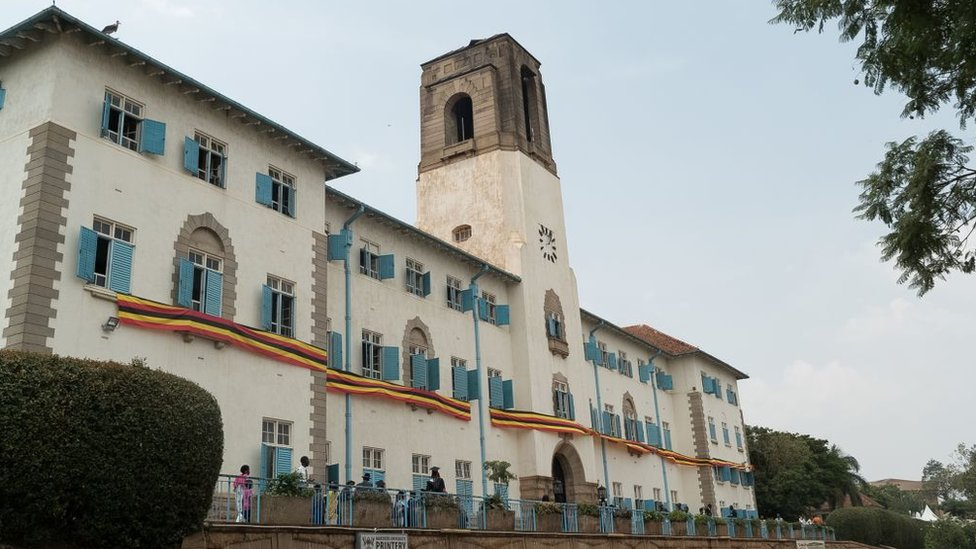 A picture taken on January 19, 2018 shows a general view of the main building of Makerere University in Kampala, Uganda.