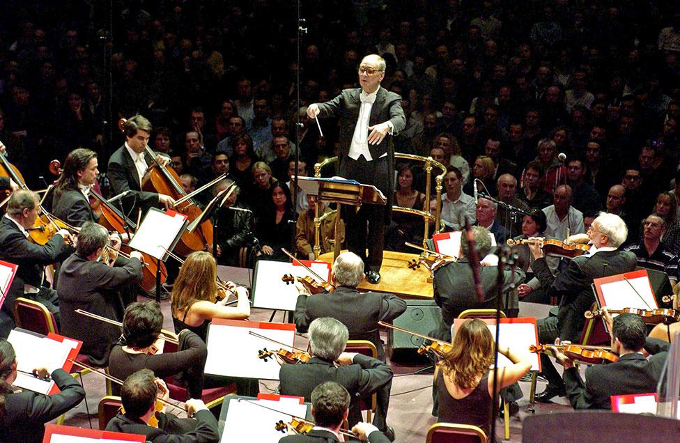 Ennio Morricone conducts at the Royal Albert Hall