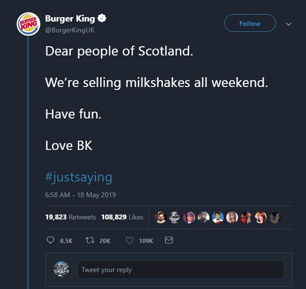 Burger King tweet