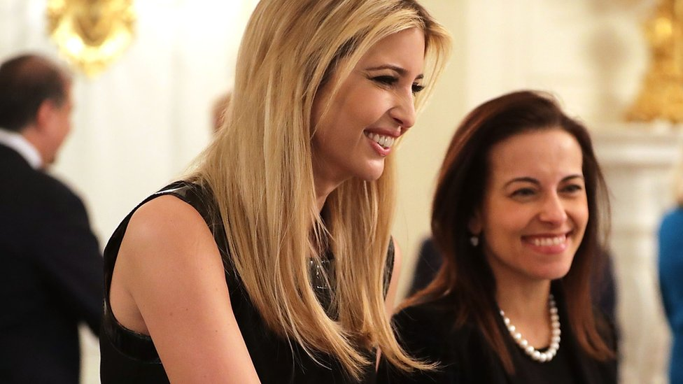 Ivanka Trump (L) and Dina Powell in February 2017 in Washington DC.