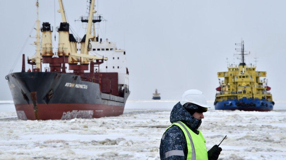 Ships off Yamal Peninsula in the Arctic Circle