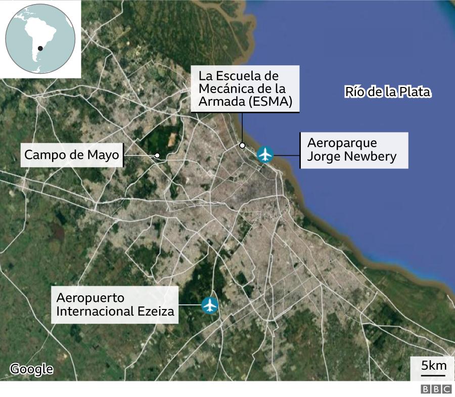 Mapa de los sitios clandestinos de detención durante el último régimen militar en Argentina.