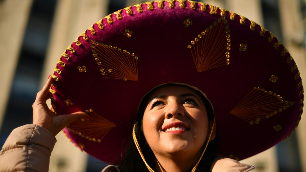 Aficionada mexicana en Moscú.