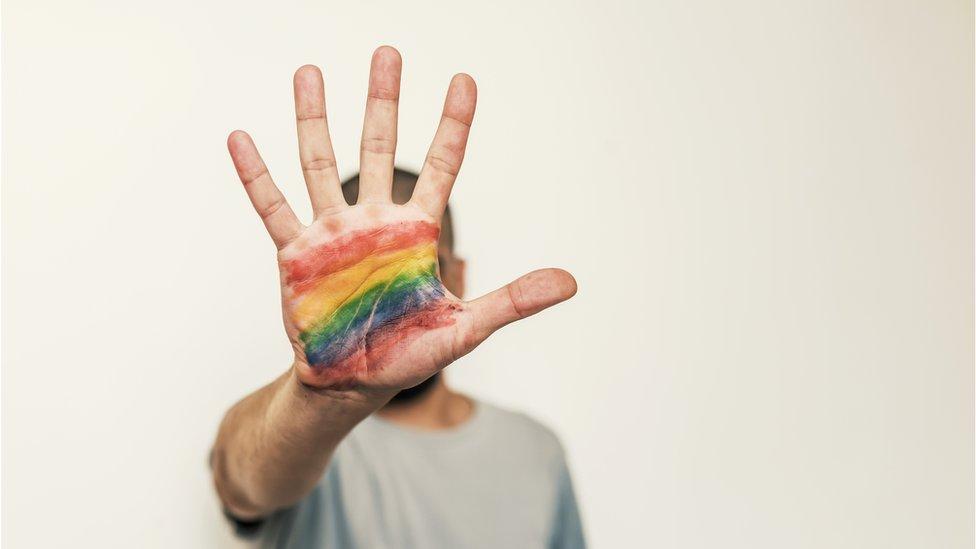 Mano con la bandera gay