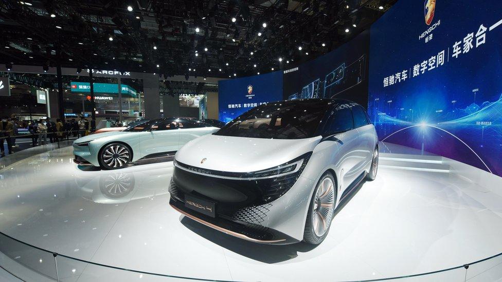 在上海車展上展出的恆大恆馳汽車樣車(19/4/2021)