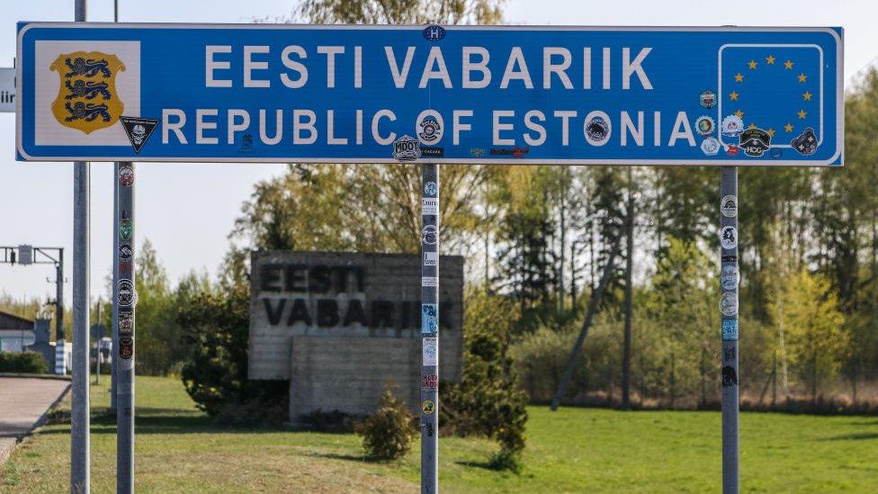 Sign at the Estonian border