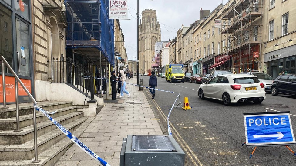 Park Street in the centre of Bristol with a police cordon
