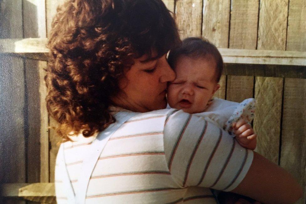 Jackie Britton with her newborn