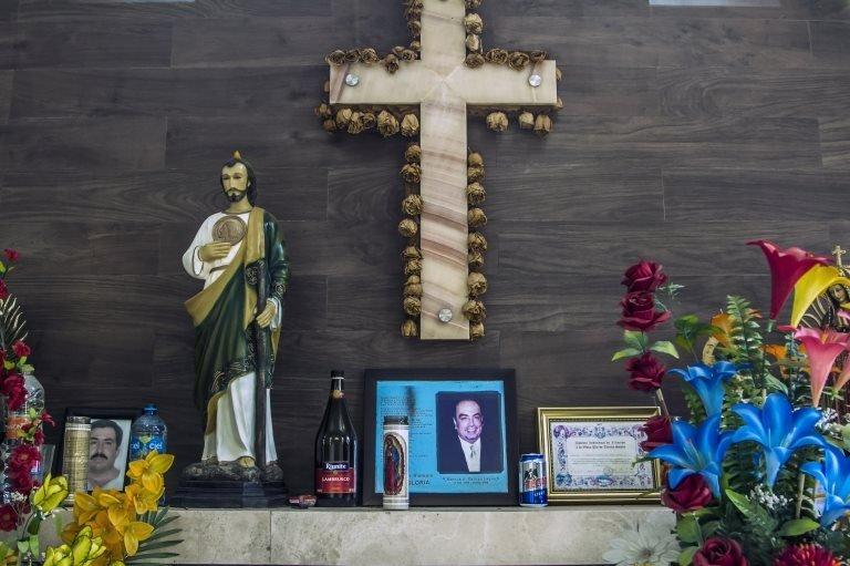 Detail of the mausoleum of Mexican drug trafficker Arturo Beltran Leyva in Culiacan, Sinaloa state