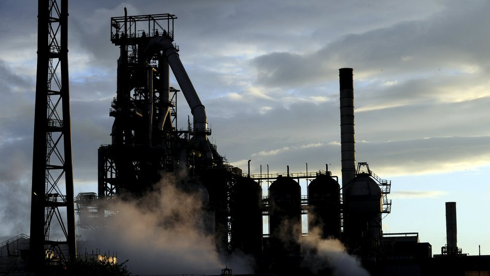 One of the blast furnaces at Port Talbot, South Wales