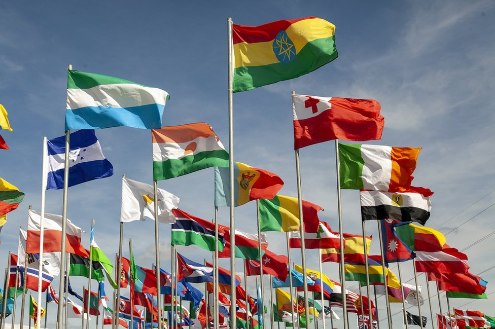 Flags at the UK's largest Islamic convention