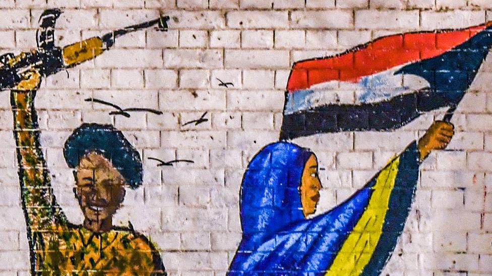 غرافتي لجندي وامرأة سودانية