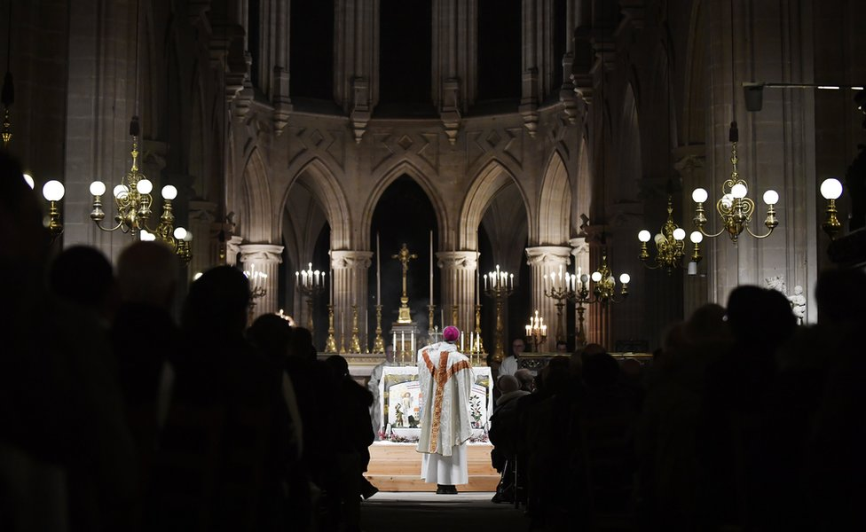 "midnight mass for Christmas at the Saint Germain l""Auxerrois church in Paris, France, 25 December 2019"