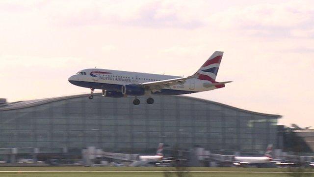 BA aircraft landing at airport