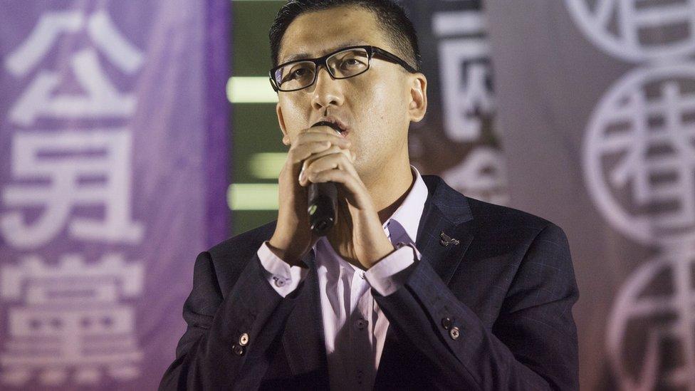 林卓廷在香港立法會外一場集會上發言(資料圖片)