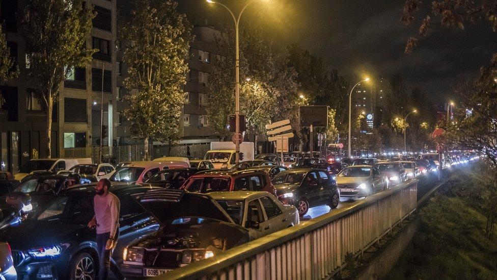 Traffic jam leaving Paris on 29 October