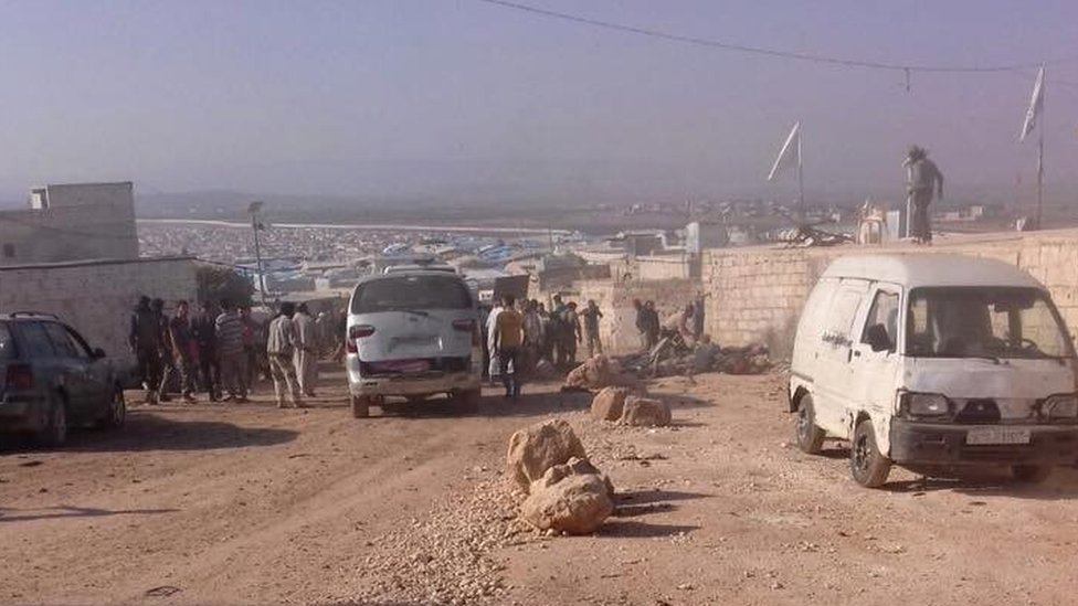 Photo posted by the Local Co-ordination Committees showing aftermath of bomb attack at Atmeh border crossing on 6 October 2016