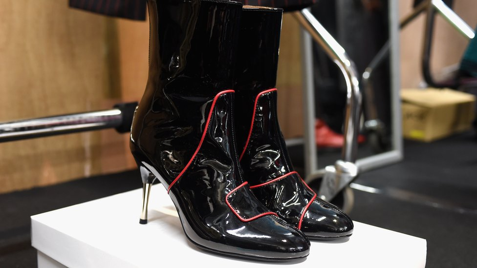 Shoe detail backstage ahead of the John Lawrence Sullivan show during the London Fashion Week Men's June 2017 collections on June 11, 2017 in London, England. (Photo by Tabatha Fireman/Getty Images)