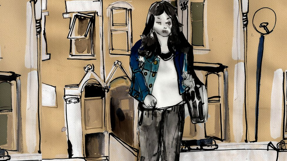 Illustration of a girl walking away from a home