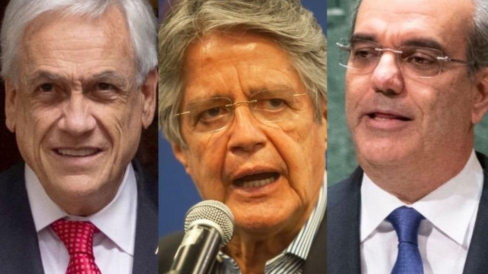 Los presidentes de Chile, Ecuador y Republica Dominicana, Sebastián Piñera, Guillermo Lasso y Luis Abinader.