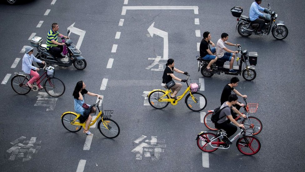 Bike riders in Shanghai
