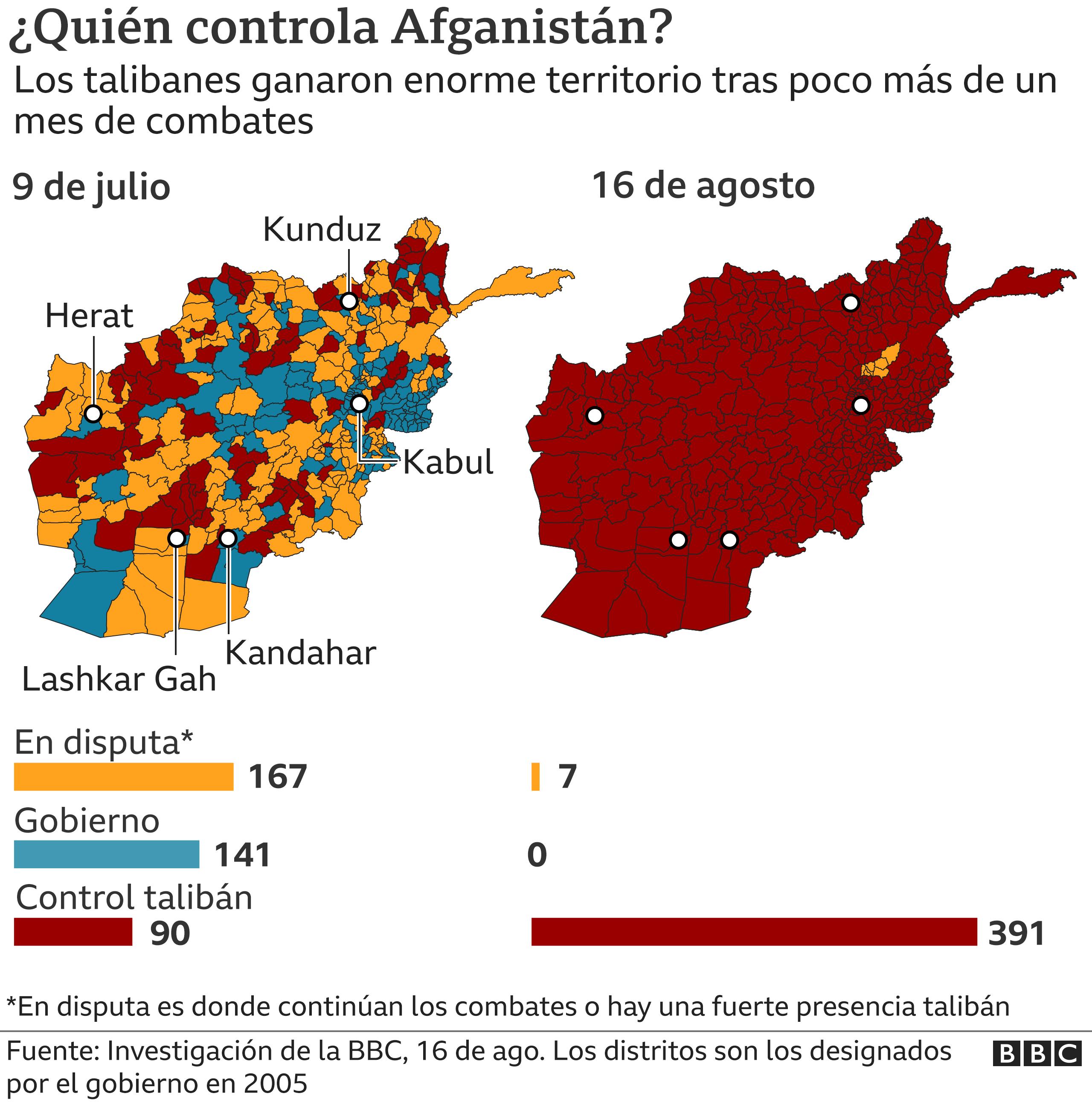 Mapa que muestra el control del Talibán en Afganistán