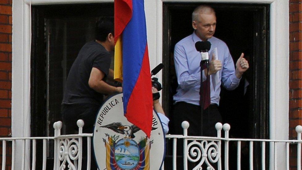 Wikileaks founder Julian Assange on the balcony of the Ecuadorean embassy in London (file photo - August 2012)