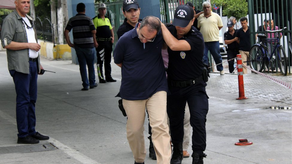 Admiral Atilla Demirhan, front, and a group of military personnel are detained in Mersin, Turkey, Tuesday, July 19, 2016.