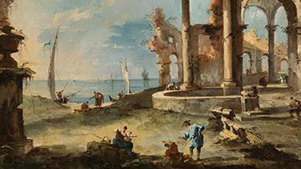 Francesco Guardi A capriccio: ruined building by the coast, with figures