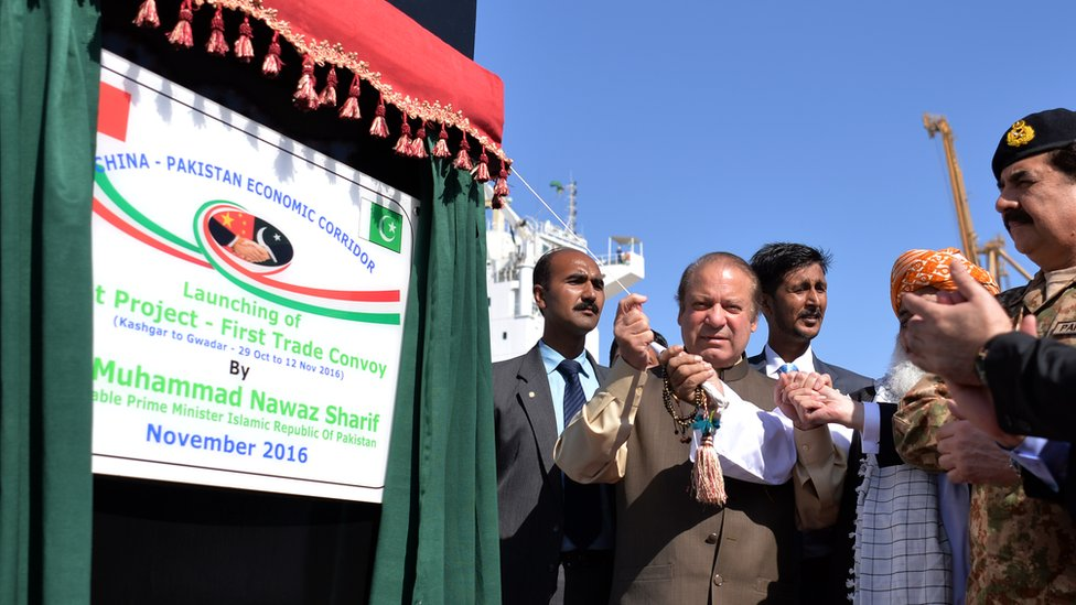 Mr Sharif opening a cooperation project with China
