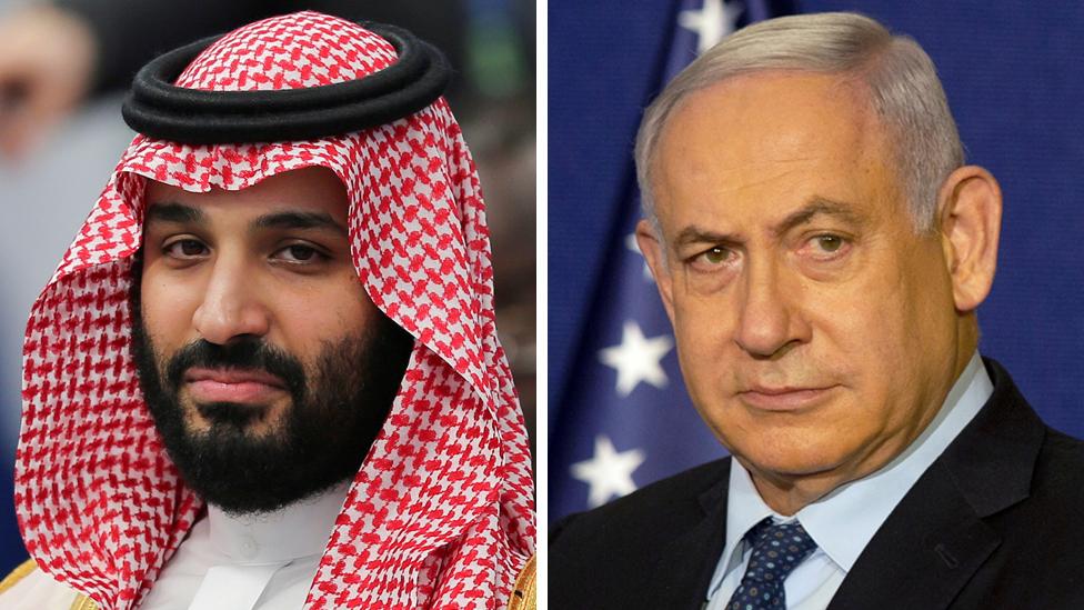Composite showing Saudi Crown Prince Mohammed bin Salman (L) and Israeli Prime Minister Benjamin Netanyahu (R)