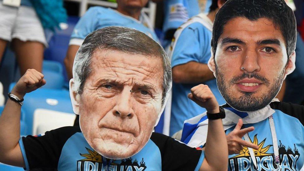 Caretas de Óscar Tabárez y Luis Suárez