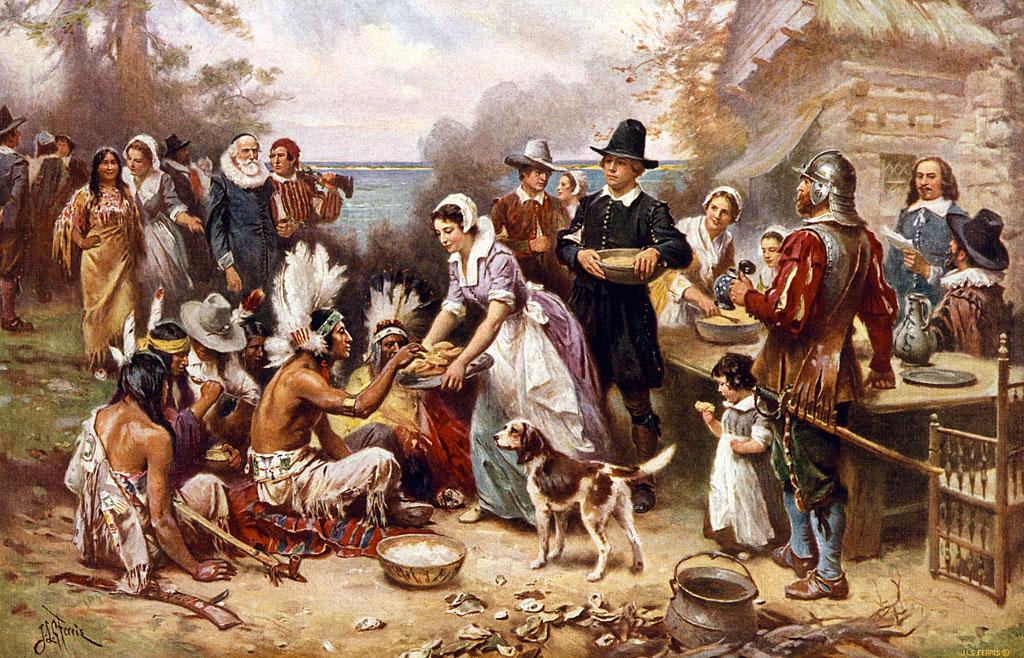 Dibujo del primer Thanksgiving